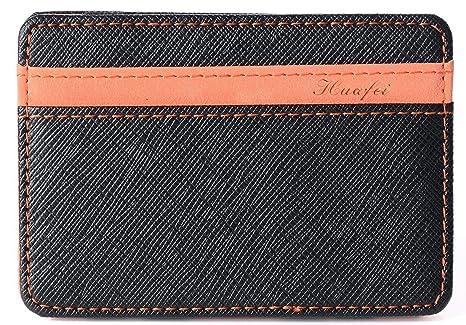 Portafoglio Magico in simili cuoio - magic wallet Credit Card Holder - porta  moneta (Arancione 4532fd206759