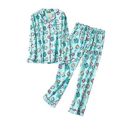 5ab886c367ca Sanmadrola Women s Cotton Flannel Sleepwear Long Sleeve Pajama Set ...
