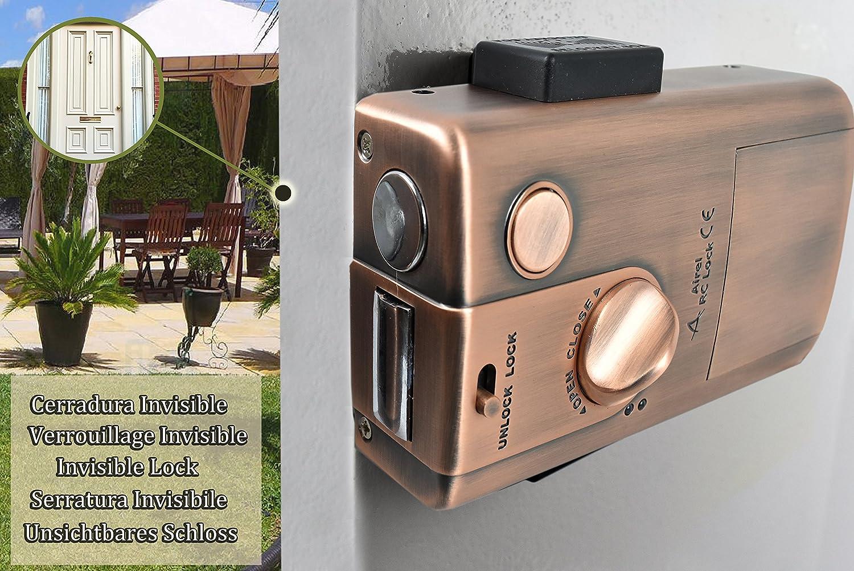 Cerradura electrónica Inteligente invisible con 4 mandos RC LOCK. Color Bronce.: Amazon.es: Bricolaje y herramientas