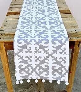 VLiving Camino de Mesa de algodón marroquí Estampado Gris y Blanco ...