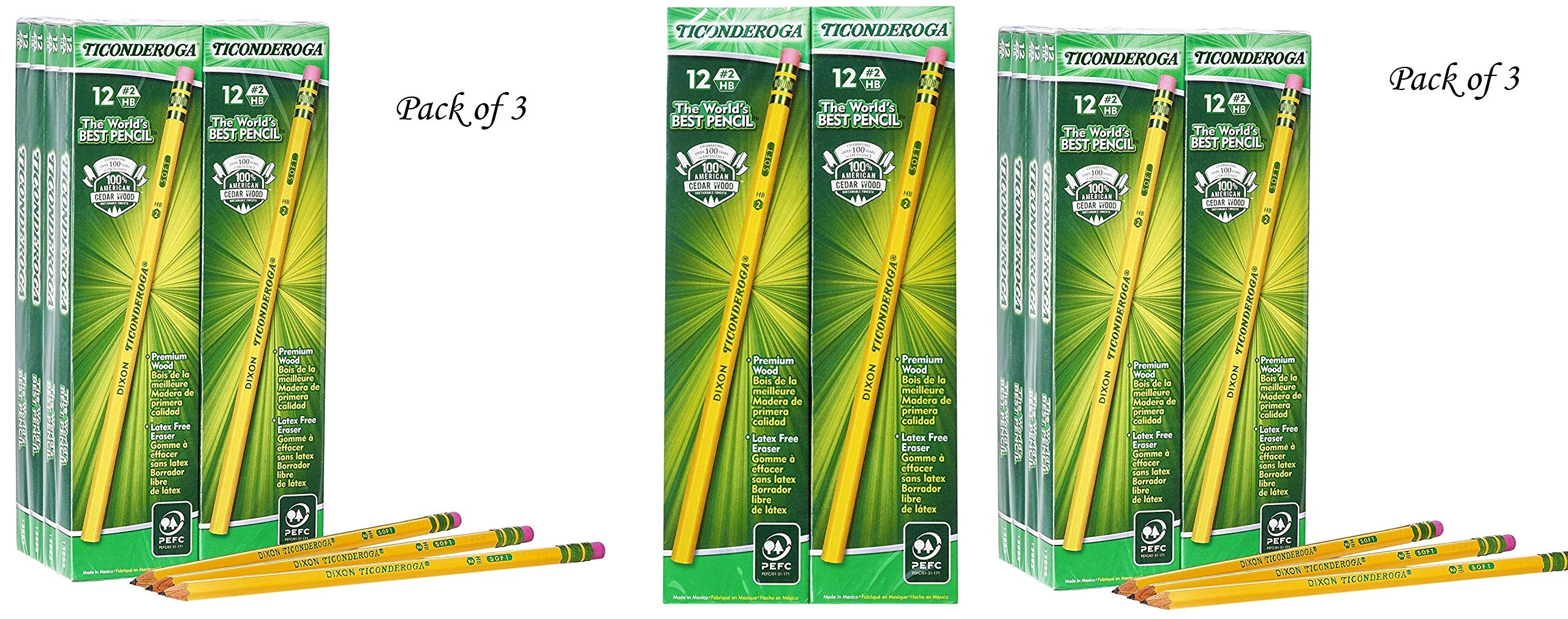 Ticonderoga Wood-Cased Graphite Pencils, 2 HB Soft, Yellow, 96 Count (13872) (3 Pack(96 Count))