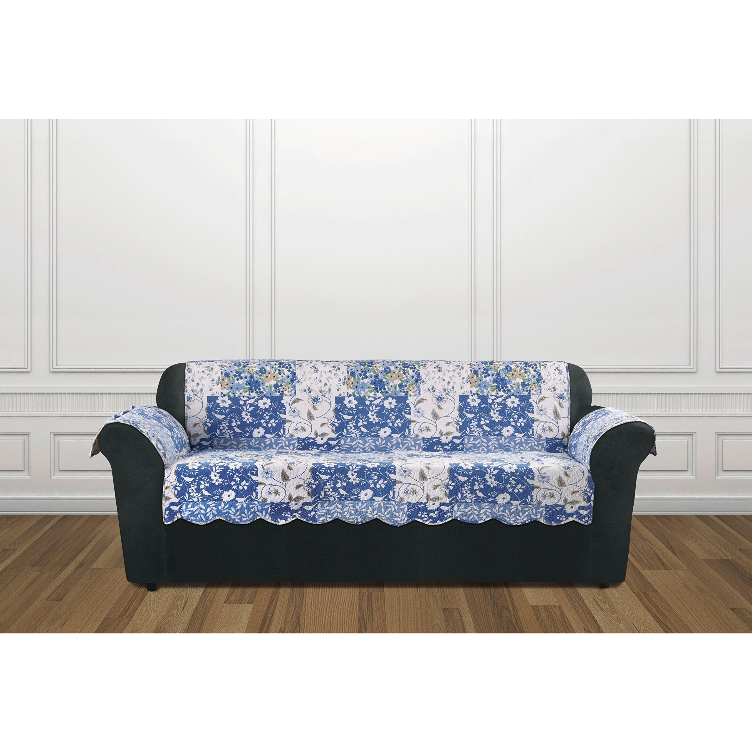 MN 1 Piece White Blue Floral Theme Sofa Protector, Geometric Checkered Square Flower Pattern Couch Protection Flowers Leaves Furniture Protection Cover Pets Animals Covers Nature Motif, Polyester
