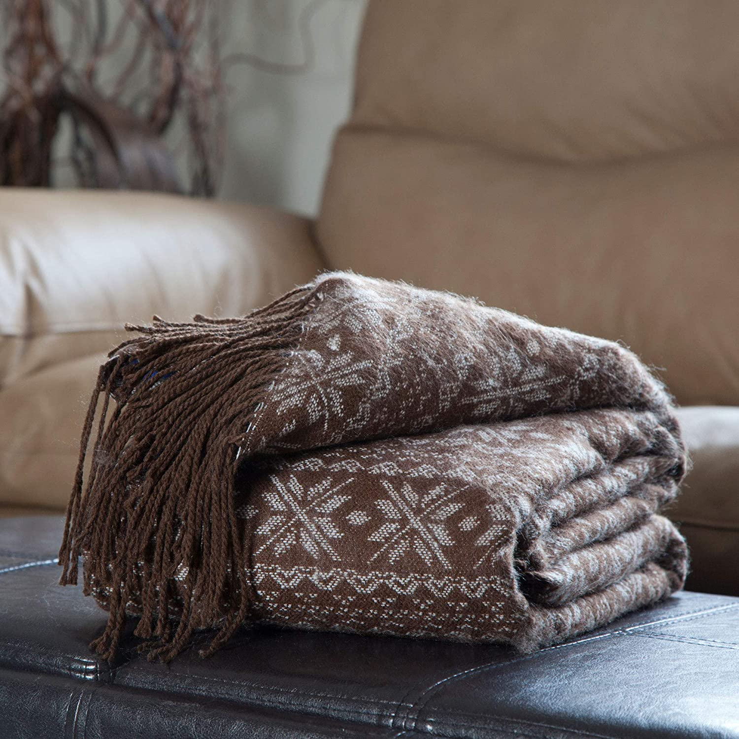 Bedford Home Throw Blanket, Jacquard, Brown