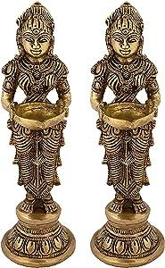 Indian Diwali Oil Lamp Pooja Diya Brass Light Puja Decorations Mandir Decoration Items Handmade Home Backdrop Decor Lamps Made in India Decorative Wicks Diyas Welcome Laxmi Deepam Set of 2 - Gold