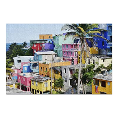Old San Juan, Puerto Rico - Colorful Houses & Palm Tree 9033596 (Premium 1000 Piece Jigsaw Puzzle for Adults, 20x30, Made in USA!): Toys & Games