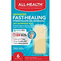 All Health Advanced Fast Healing Hydrocolloid Gel Bandages, Large, 6 ct | 2X Faster Healing for First Aid Blisters or…