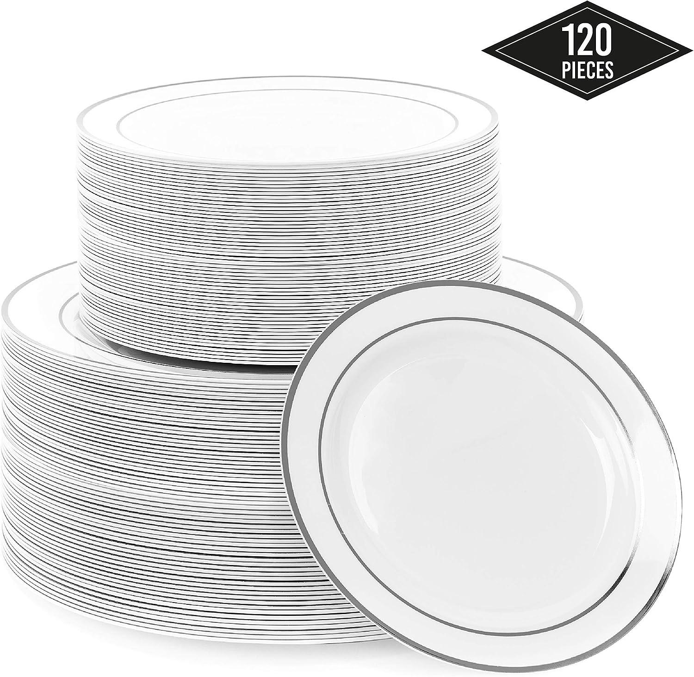 120 Elegante Platos Plástico Duro con Borde Plateado (2 Tamaños)| IRROMPIBLE, 100% Resistentes al Calor, Resistente - Aptos para Lavavajillas y Reutilizable - Ideale para bodas Cumpleaños Fiestas.