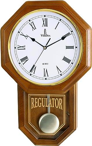 Pendulum Wall Clock Battery Operated – Quartz Wood Pendulum Clock – Silent, Wooden Schoolhouse Regulator Design, Decorative Wall Clock Pendulum for Living Room, Kitchen Home D cor, 18 x 11.25