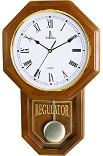 Amazon sn vintage traditional schoolhouse wall clock in oak by best pendulum wall clock silent decorative wood clock with swinging pendulum battery operated aloadofball Choice Image