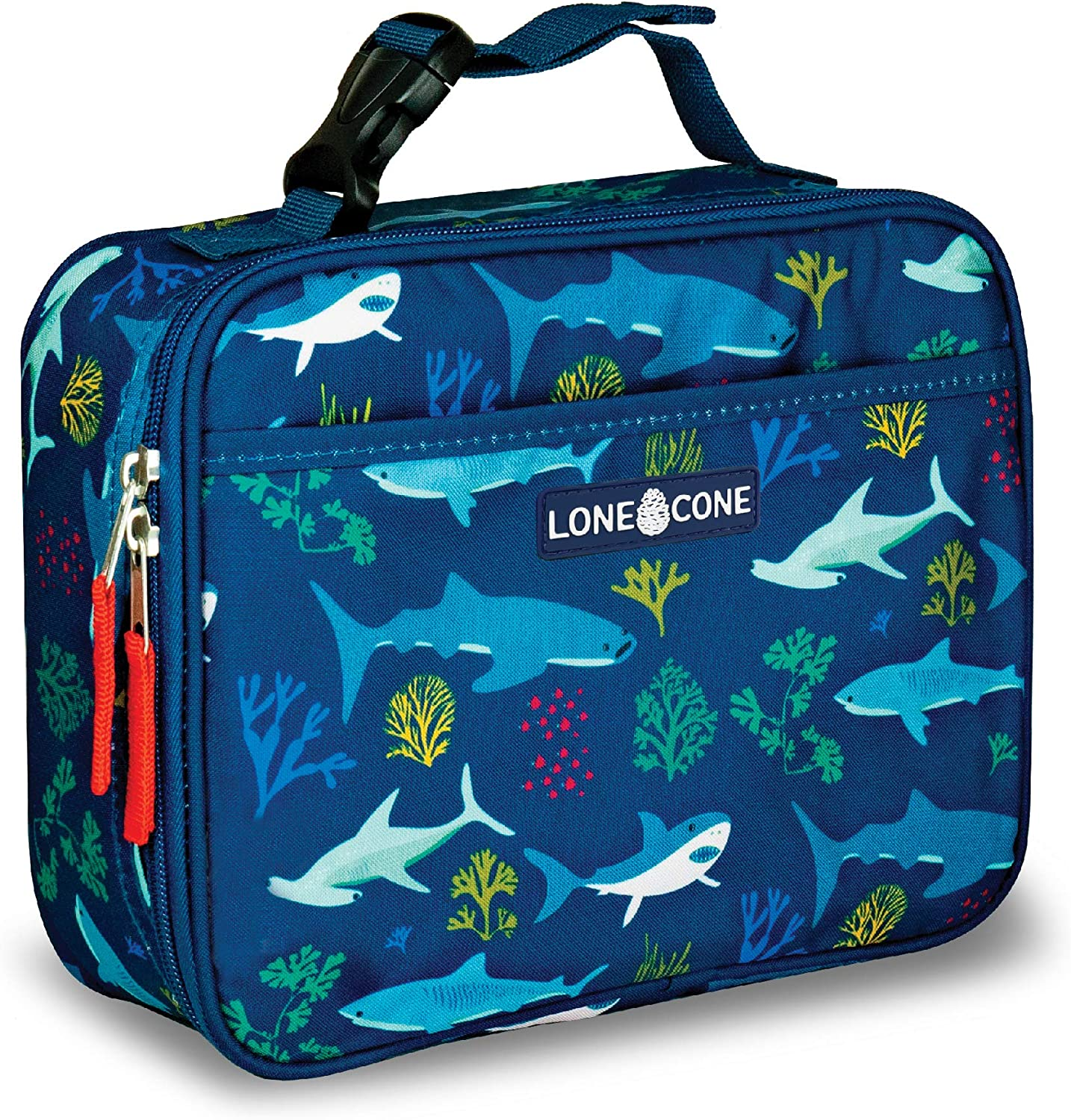 LONECONE Kids' Insulated Fabric Lunch Box - Fun Patterns for Boys and Girls, Shark Attack, Standard