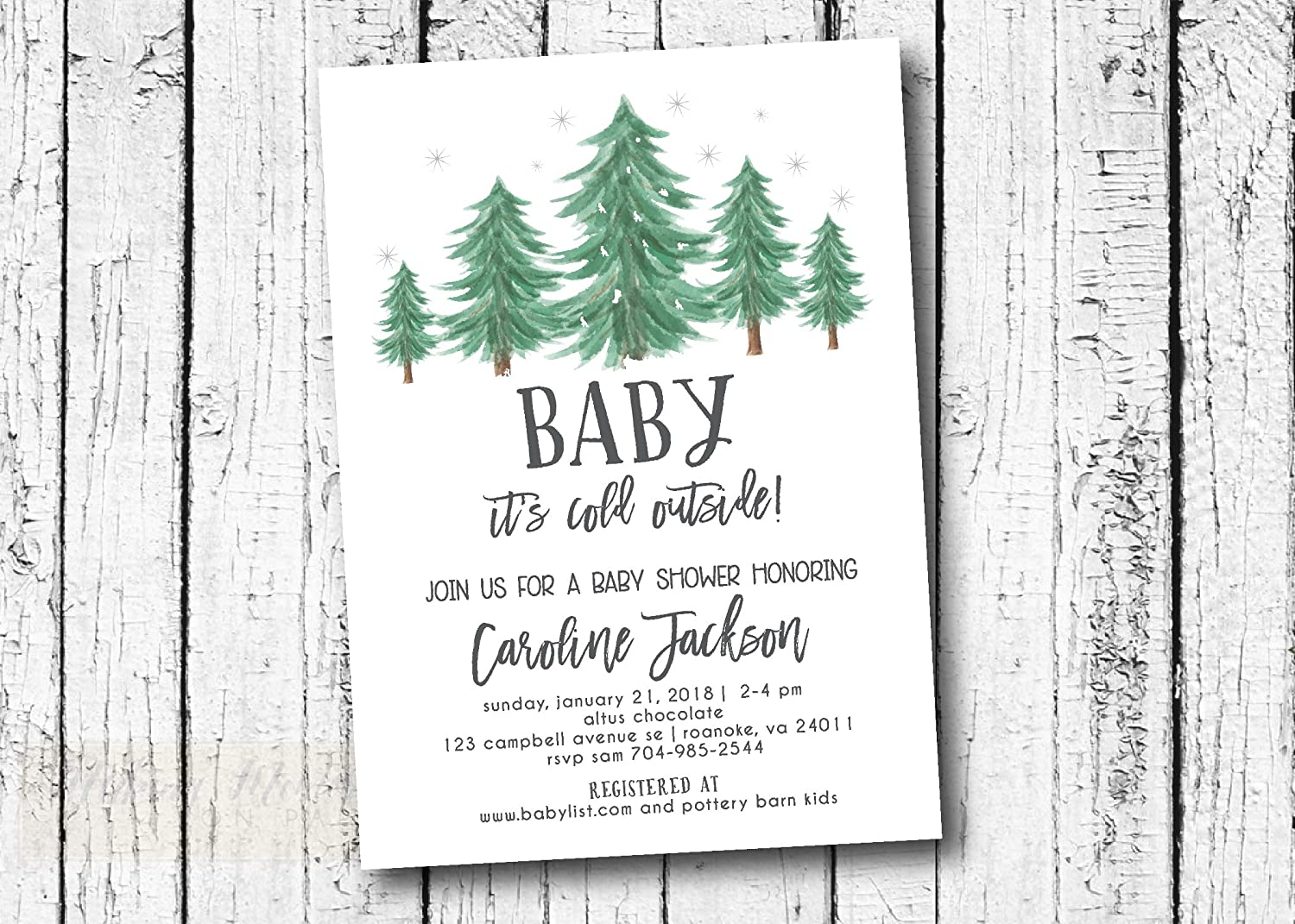 Winter Baby Shower Invitation, evergreen, snow, baby its cold outside, watercolor, Rustic, Christmas, invite, invitation