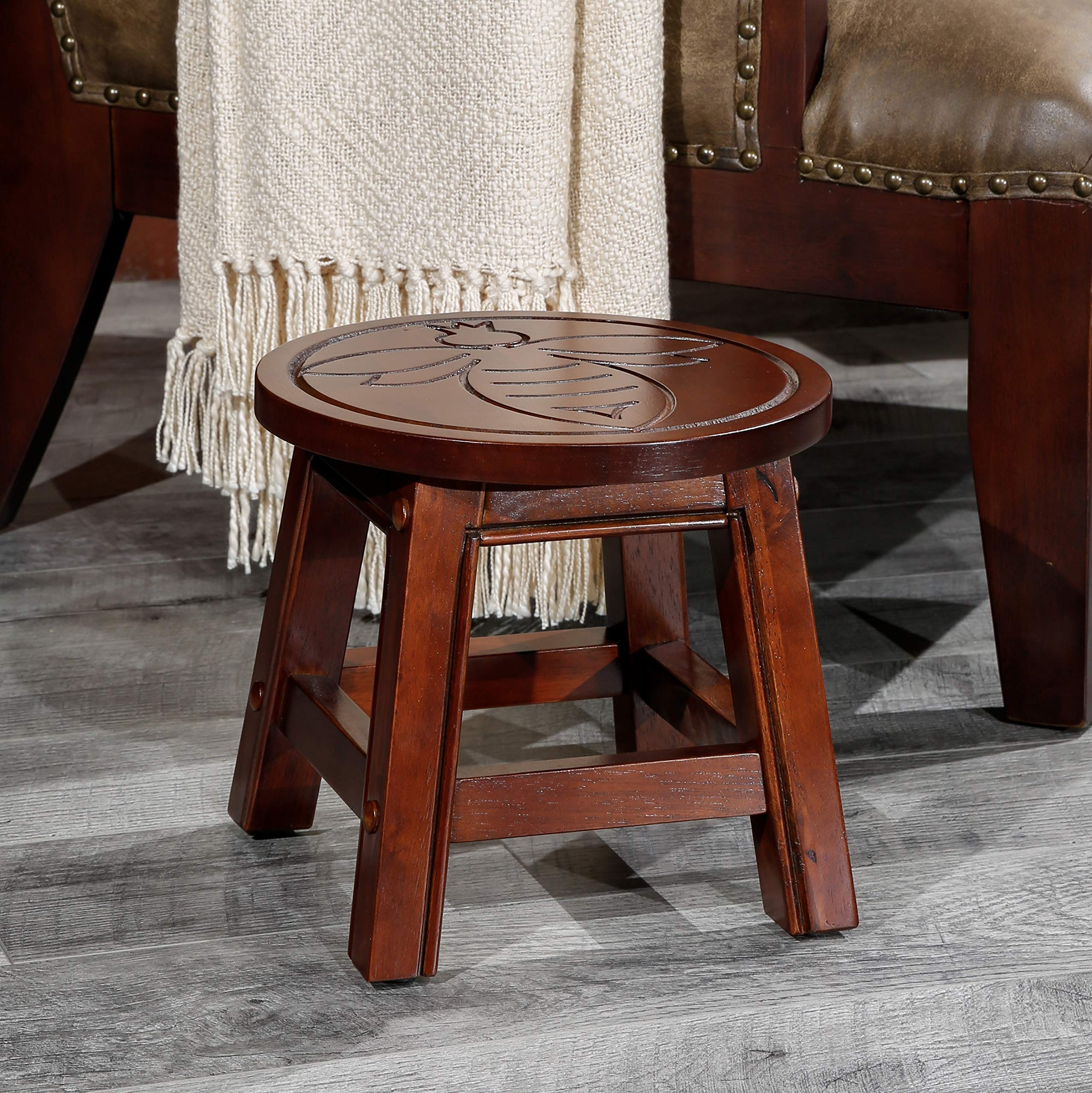DTY Indoor Living Fairplay Carved Wooden Step Stool, Queen Bee, Cherry by DTY
