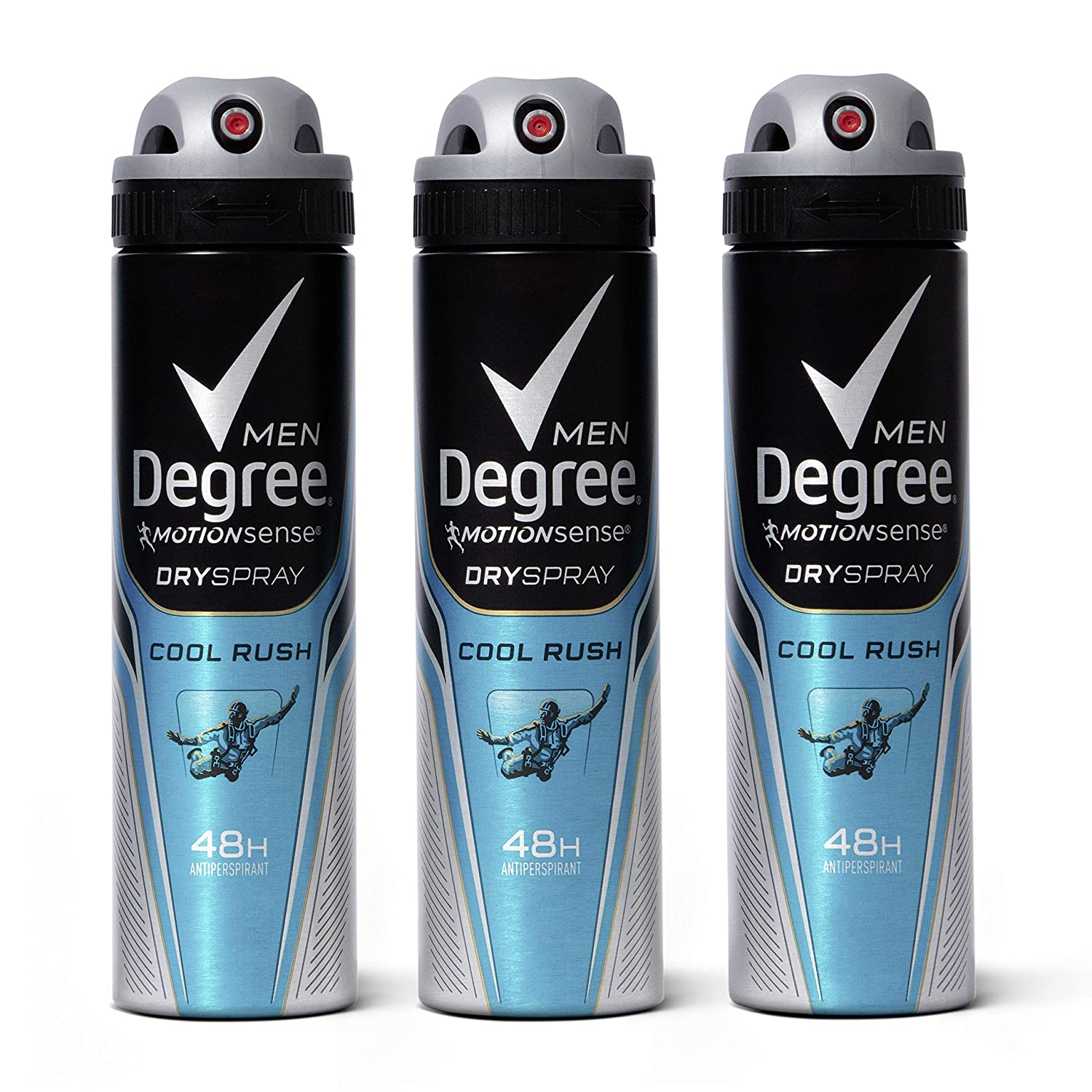 Degree Men Antiperspirant Deodorant Dry Spray Cool Rush With MotionSense for 48 Hour Sweat and Odor Protection 3.8 oz, 3 Count : Beauty