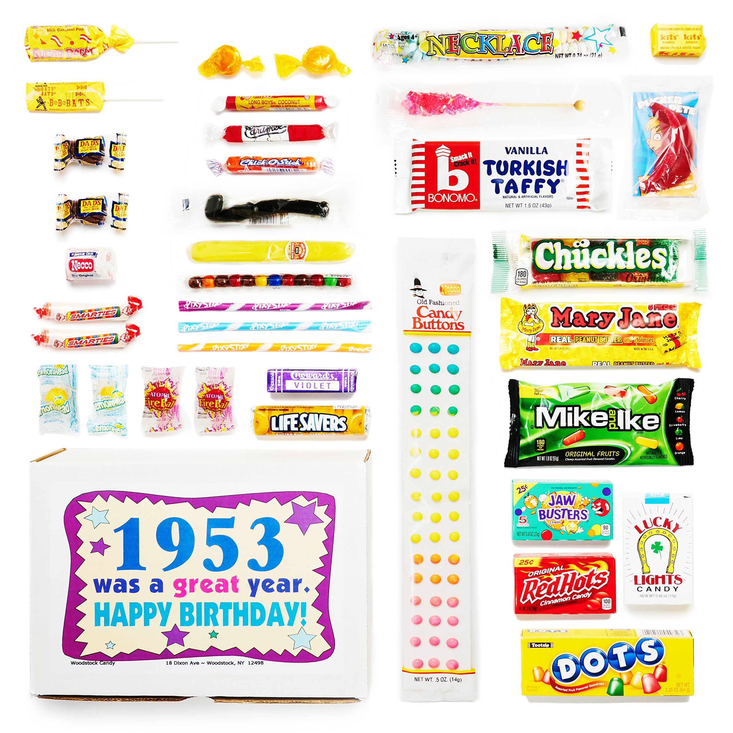 Woodstock Candy 1953 65th Birthday Gift Box Nostalgic Retro Mix From Childhood For 65 Year Old Man Or Woman Born Jr Chocolate Gifts