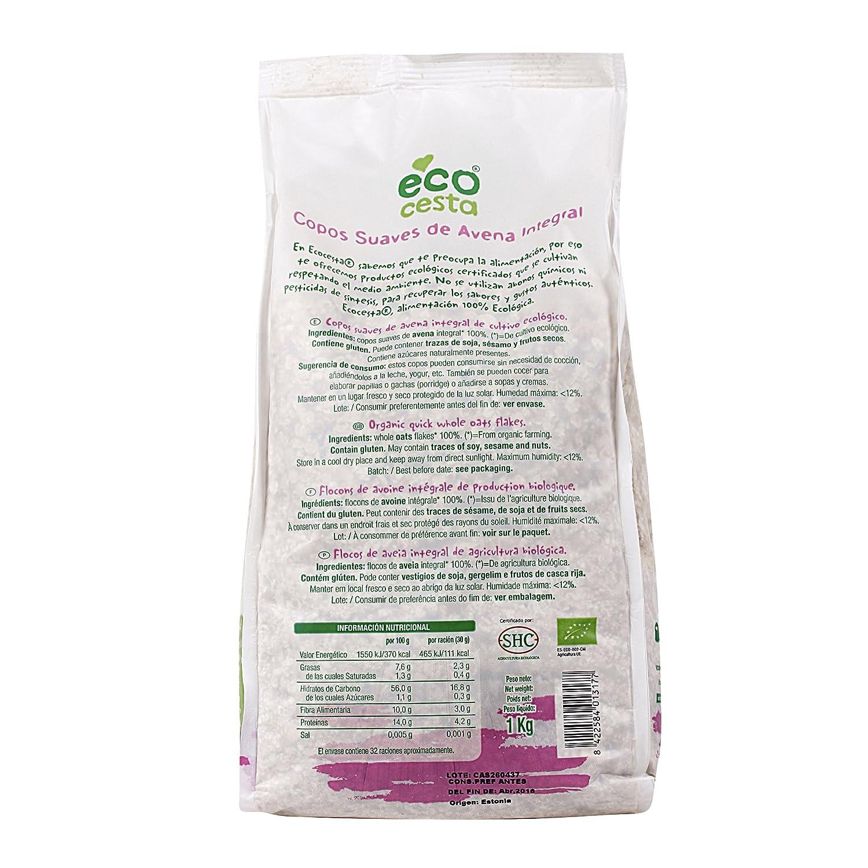 ECOCESTA copos suaves de avena integral bio paquete 1 Kg: Amazon.es: Alimentación y bebidas