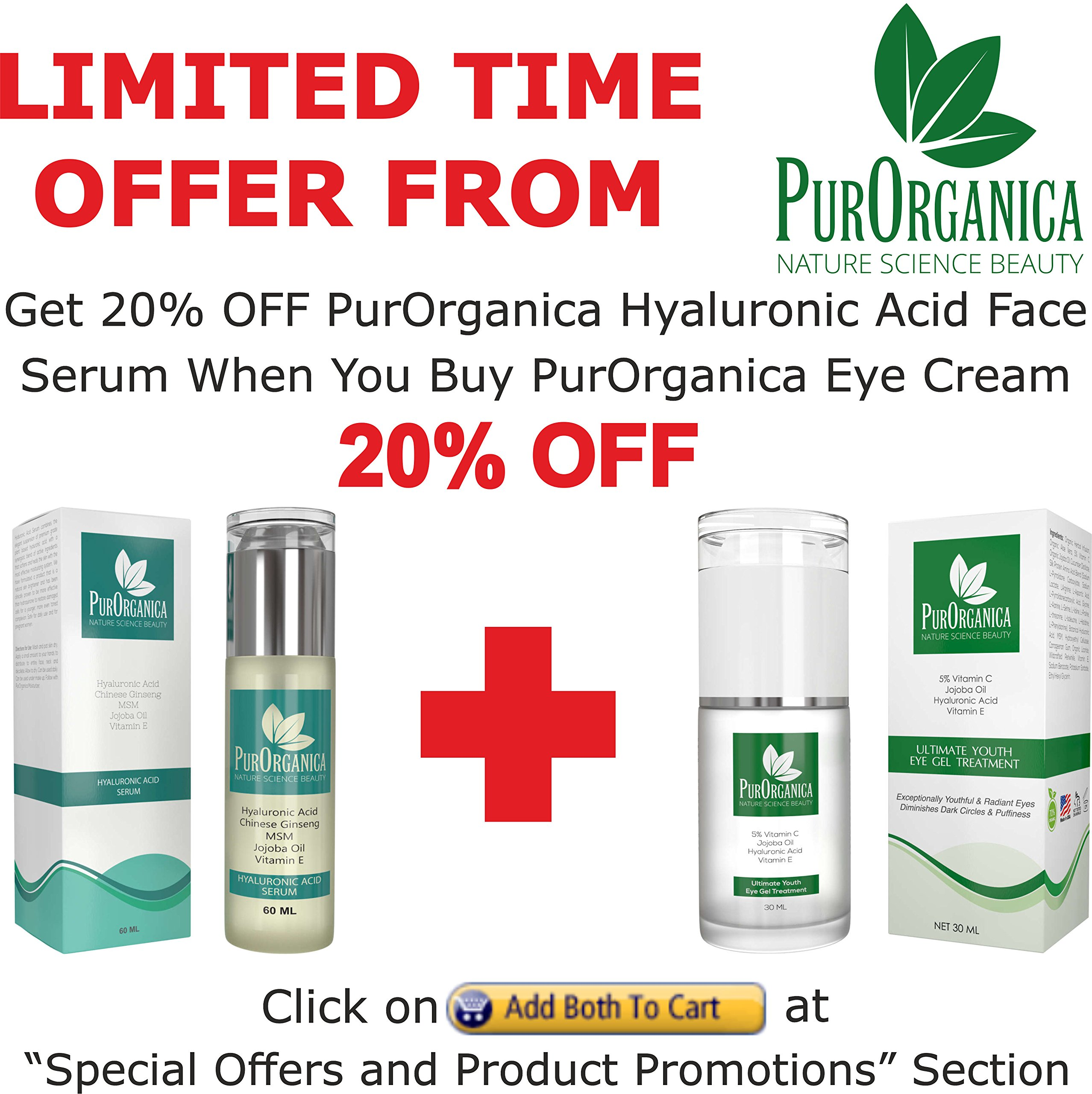 PurOrganica EYE CREAM for Dark Circles, Eye Bags, Puffiness, Wrinkles and Crow's Feet - DOUBLE SIZED 1 OZ - Organic Anti Ageing Cream with Vitamin C, Hyaluronic Acid, Jojoba Oil and Vitamin E