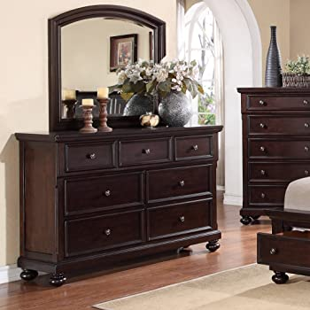 roundhill furniture brishland 7 drawers bedroom dresser and mirror rustic cherry. Black Bedroom Furniture Sets. Home Design Ideas
