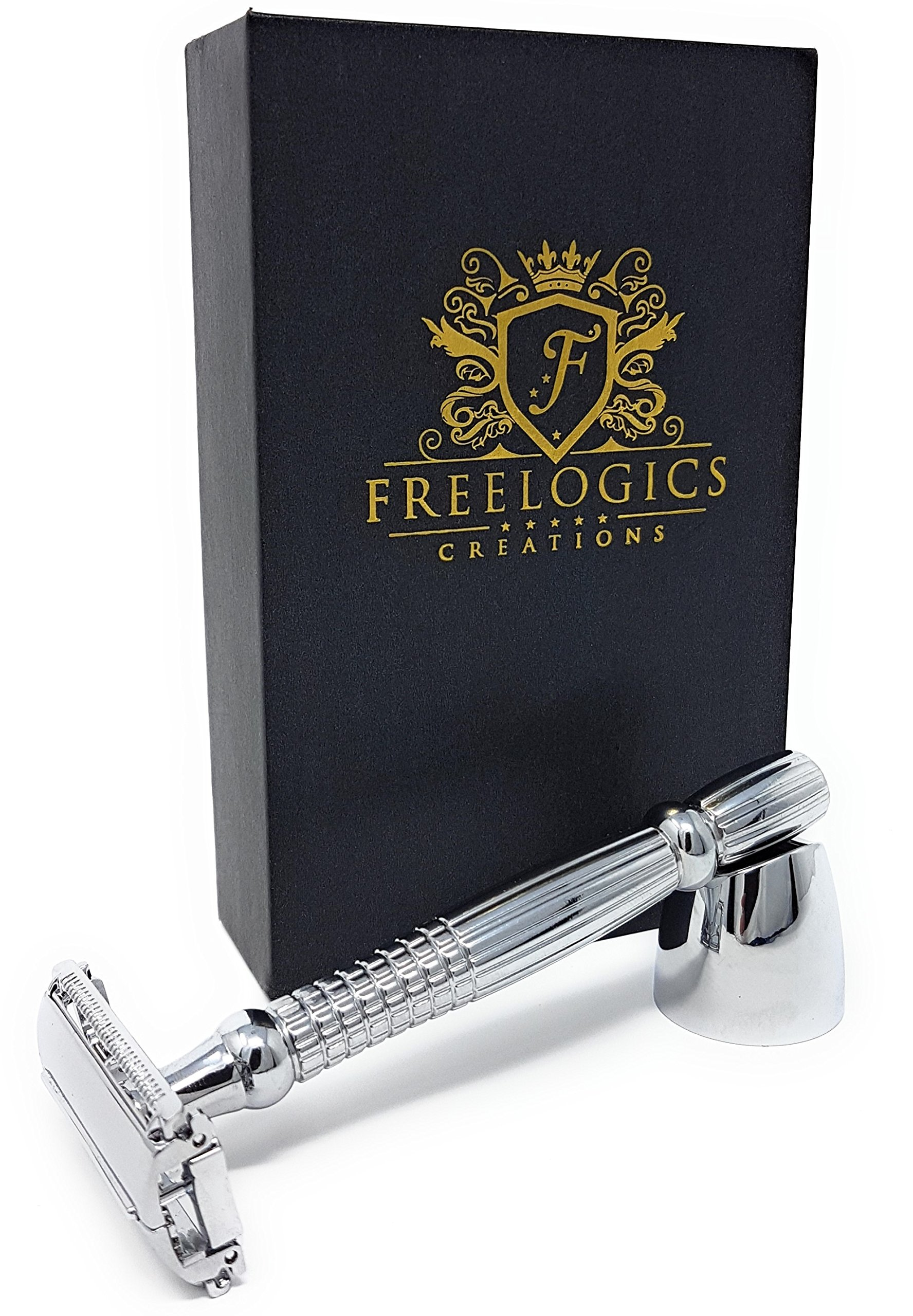 FREELOGICS Double Edge Safety Razor Kit with Stand -Extra Long Handled - Traditional Straight Butterfly Best Razors for Men or Women - Stainless Steel Double Edge Shaving Blades with Refills Holders