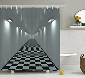 Ambesonne Apartment Decor Collection, Long Corridor Ceiling Lights Tiled Floor Minimalistic Design Office Interior Art , Polyester Fabric Bathroom Shower Curtain Set with Hooks, Grey Black