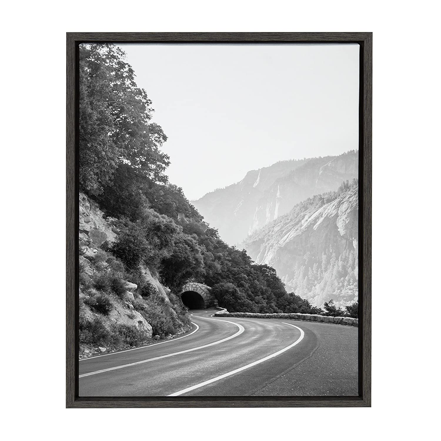 Kate and laurel sylvie yosemite tunnel californias sierra nevada mountains black and white photograph framed canvas wall art by f2 images