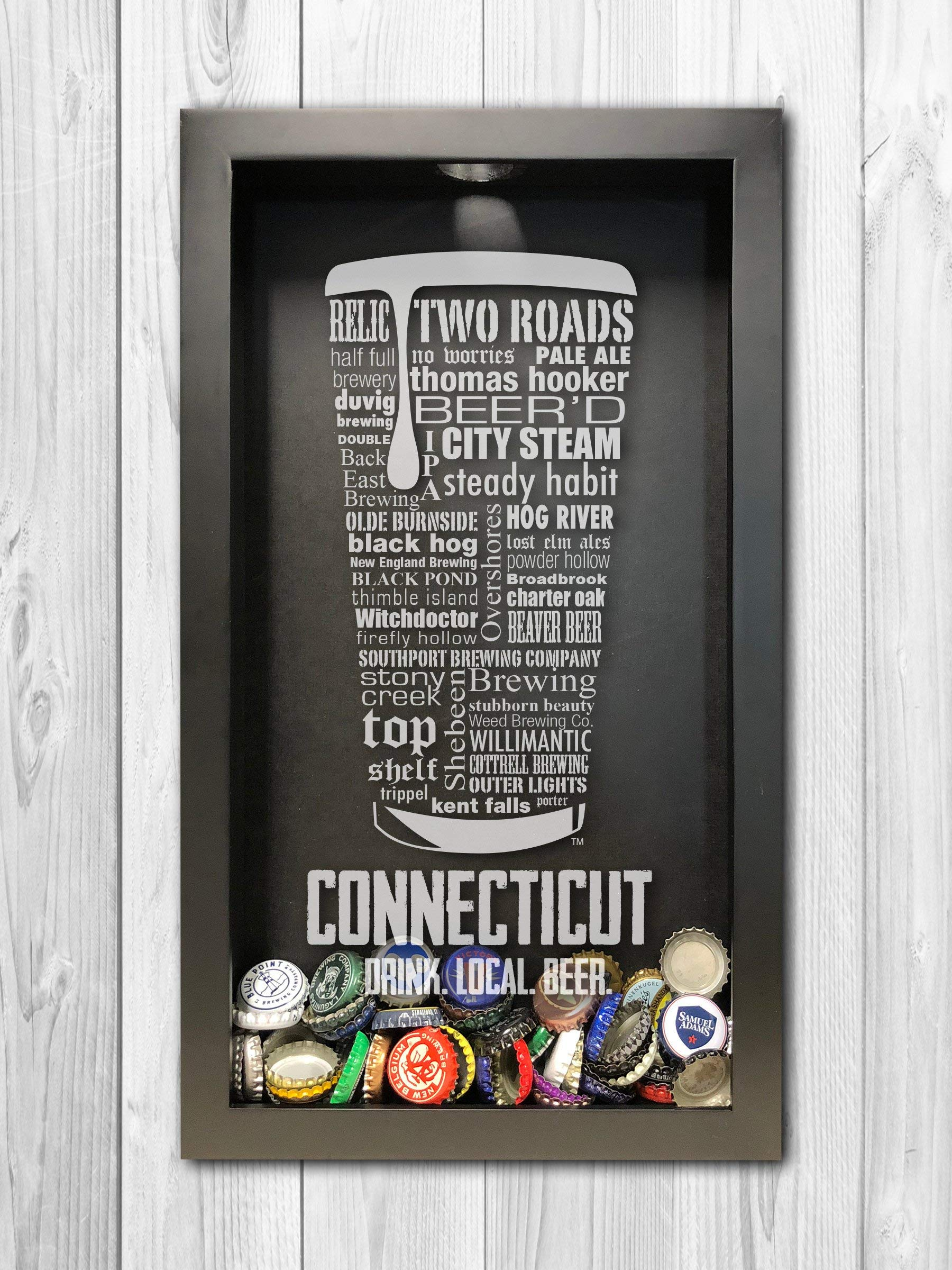 Connecticut Craft Beer Typography Bottle Cap Shadow Box, Beer Cap Holder