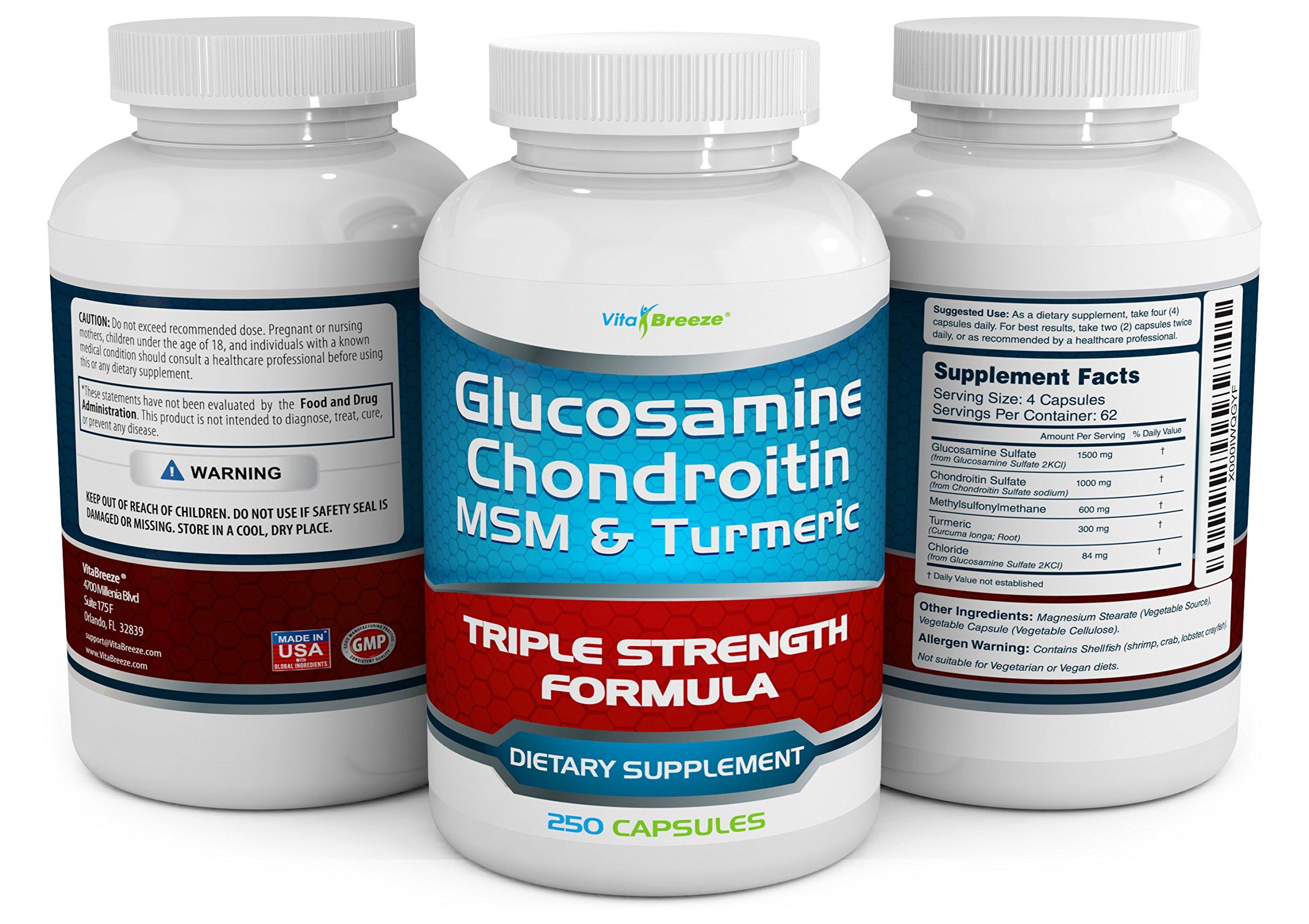 Glucosamine Chondroitin, MSM & Turmeric Dietary Supplement - 250 Capsules by VitaBreeze (Image #4)