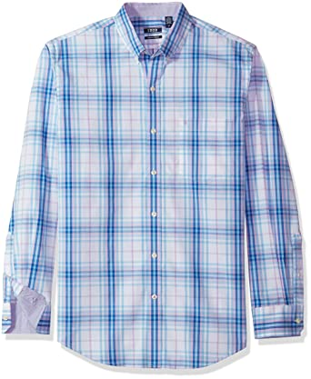 Izod Mens Large Red White & Blue Checked Shirt Long Sleeves 100% Cotton Fashionable And Attractive Packages Casual Button-down Shirts