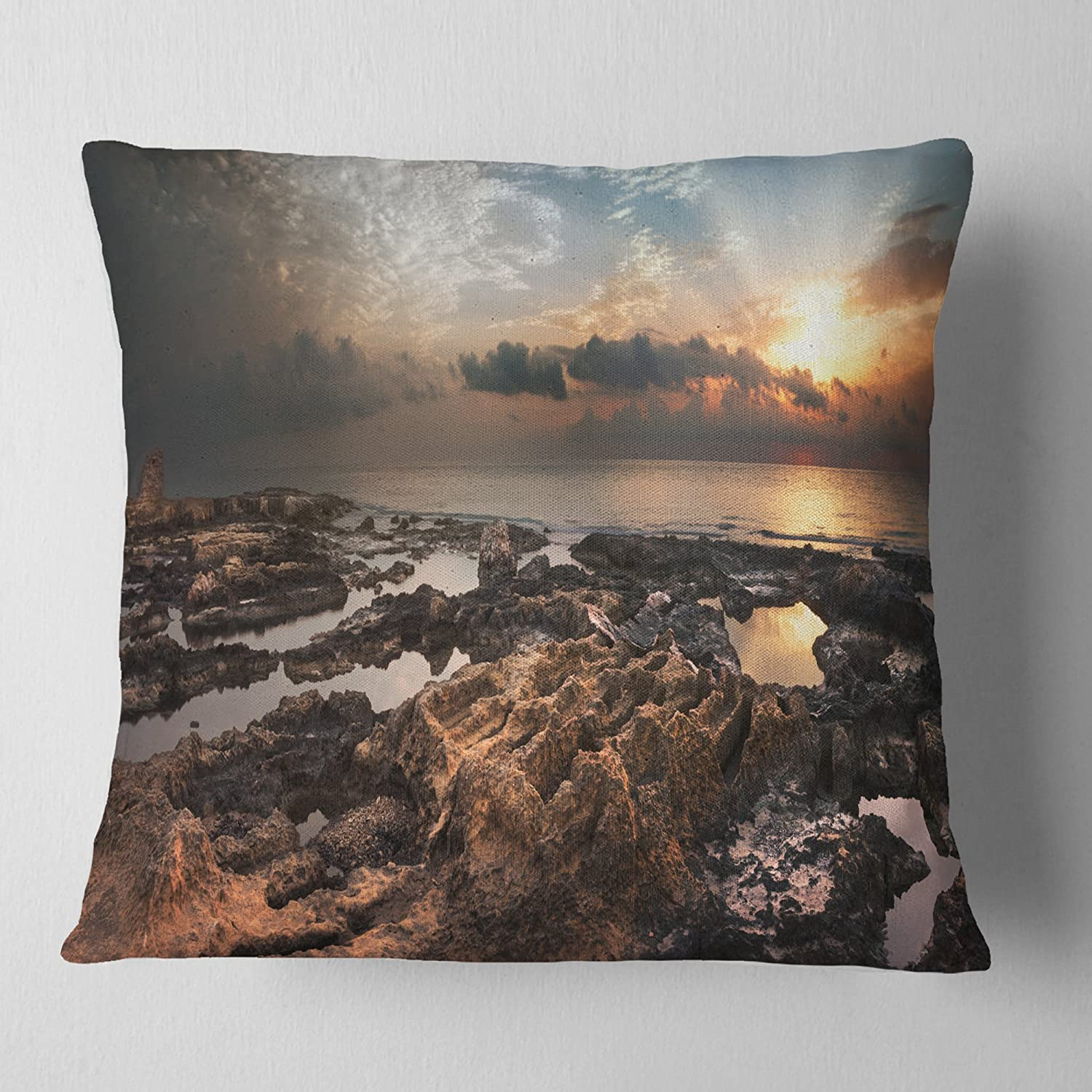 in Designart CU11019-16-16 African Rocky Coast Panorama Oversized Beach Cushion Cover for Living Room x 16 in Sofa Throw Pillow 16 in