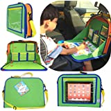 Kids Backseat Organizer Holds Crayons Markers an iPad Kindle or Other Tablet. Great for Road Trips and Travel used as a Lap Tray Writing Surface or as Access to Electronics for Kids Age 3+