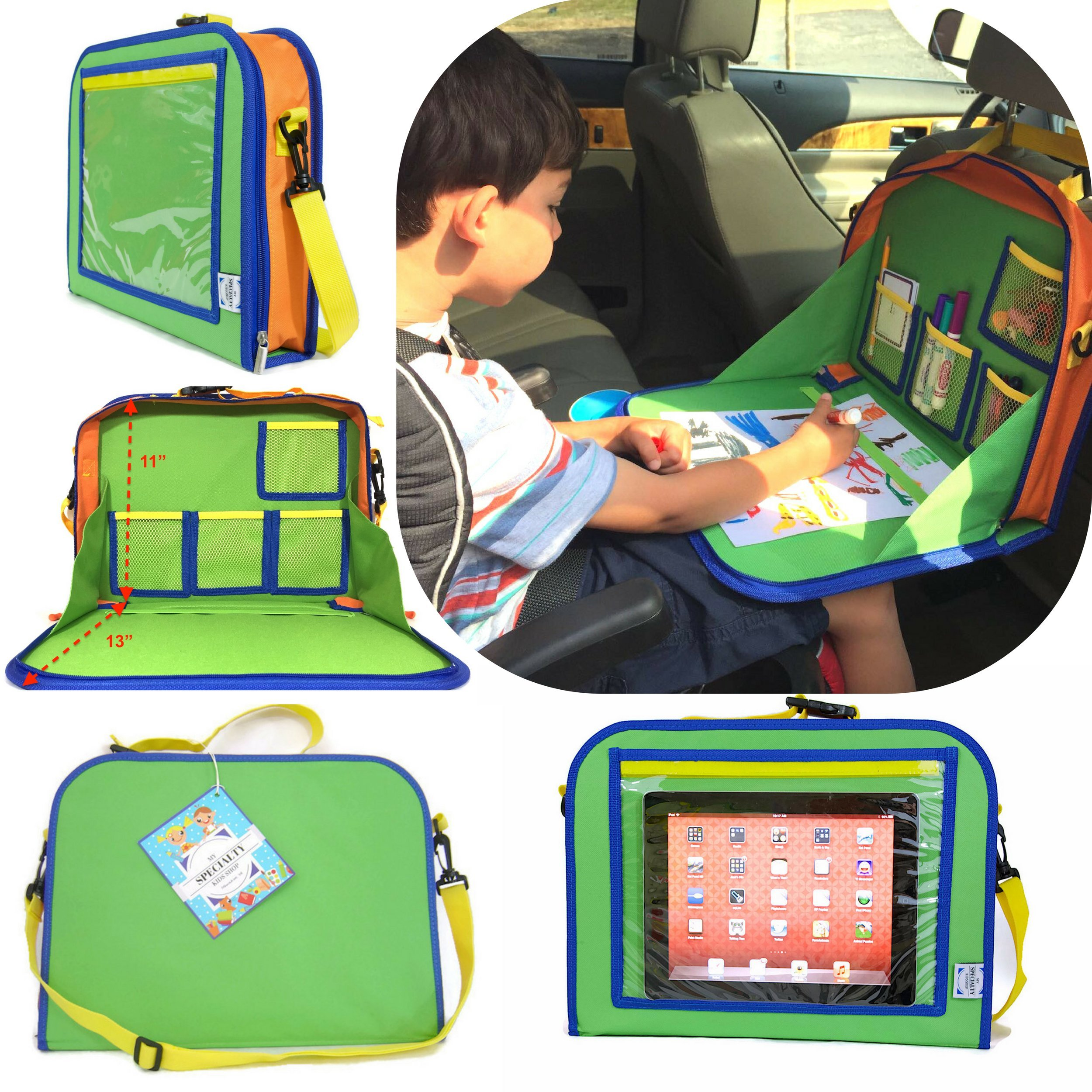 Kids Backseat Travel Tray Organizer Holds Crayons Markers an iPad Kindle or Other Tablet. Great for Road Trips and Travel used as a Lap Tray Writing Surface or as Access to Electronics for Kids Age 3+ by My Specialty Kids Shop