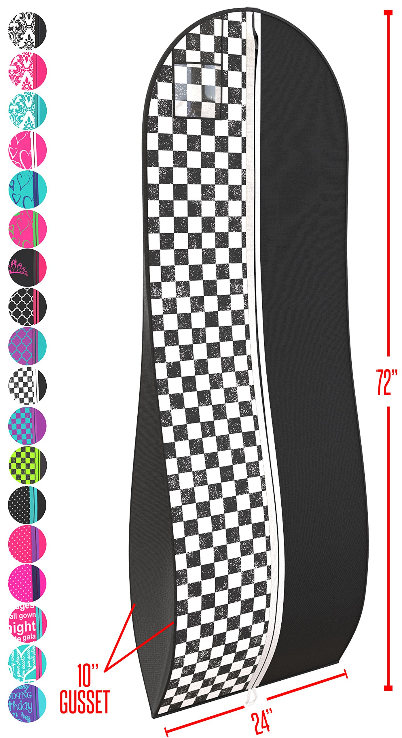 """Gusseted Gown Garment Bag for Women's Prom and Bridal Wedding Dresses - Travel Folding Loop, ID Window-72"""" x 24"""" with 10"""" Tapered Gusset - Black and White Checkered - by Your Bags"""
