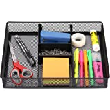 CAXXA Mesh 3 Slot Desk Drawer Organizer with Two Adjustable Dividers - Black