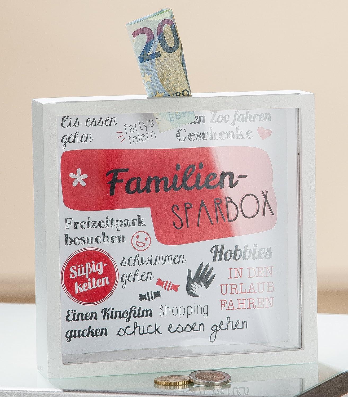 Spardose Familien-Sparbox m. Sichtfenster rot/weiß Höhe 17 cm ...