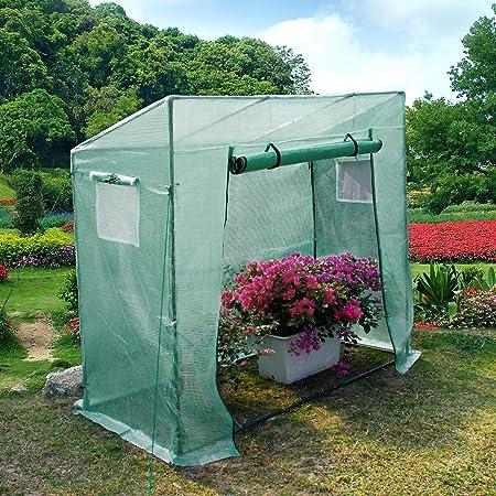 Yorbay Invernadero de Jardín con Pantalla Rejilla de PE (140g/㎡), para Tomates, Terraza, Verde, 200 x 80 x 170/150 cm: Amazon.es: Jardín