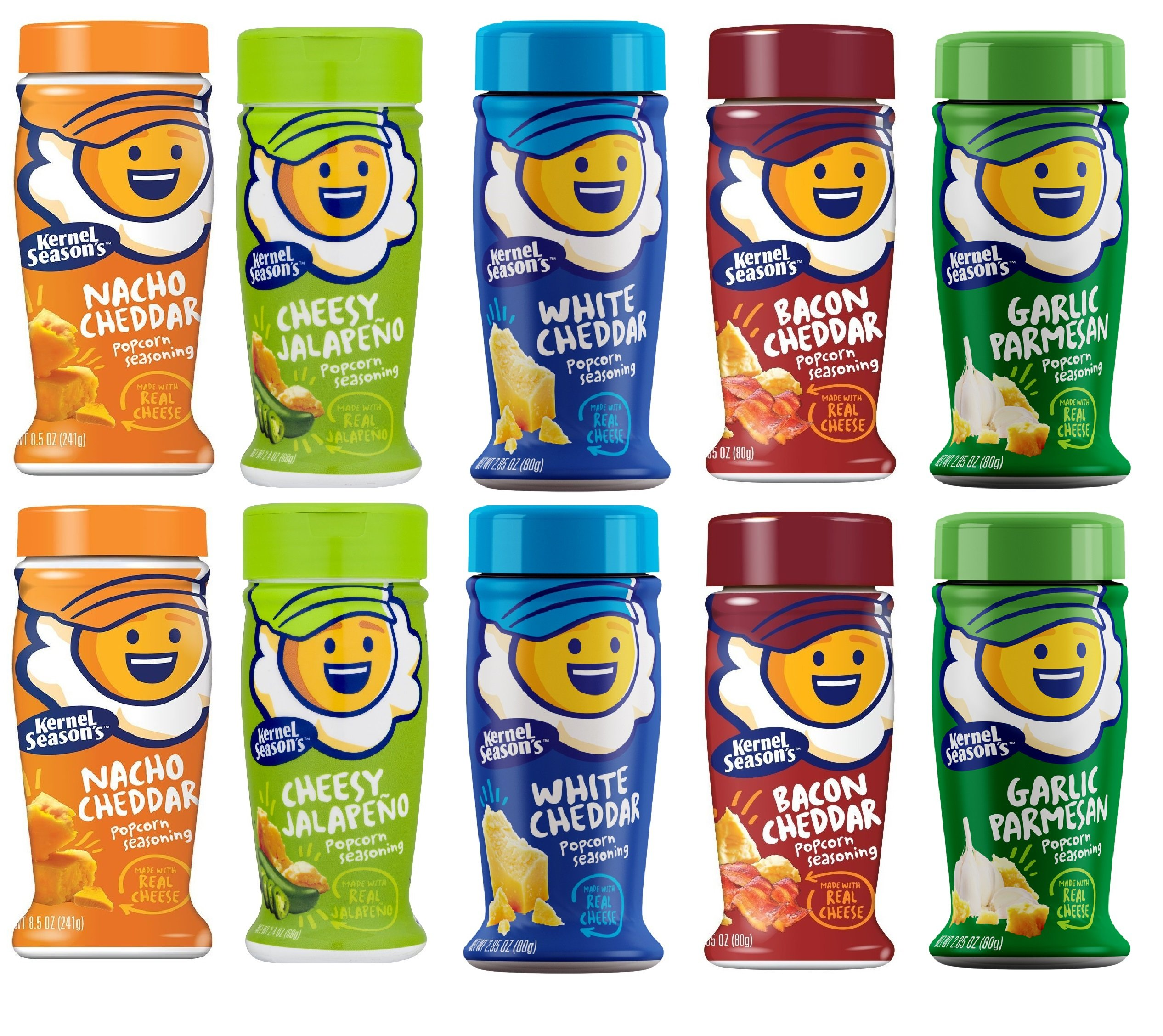 Kernel Seasons Popcorn Seasoning Kit CHEESE LOVERS Complete Set Variety Pack of All 5 Cheesy Flavors (VALUE 2-PACK)
