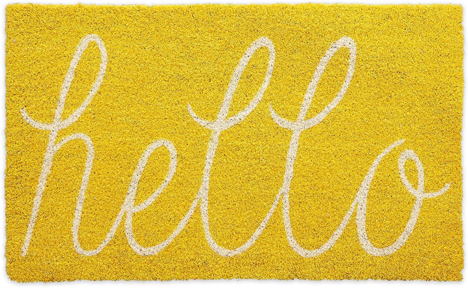 DII Hello Coir Fiber Doormat Non-Slip Durable Outdoor/Indoor, Pet Friendly, 18x30, Yellow