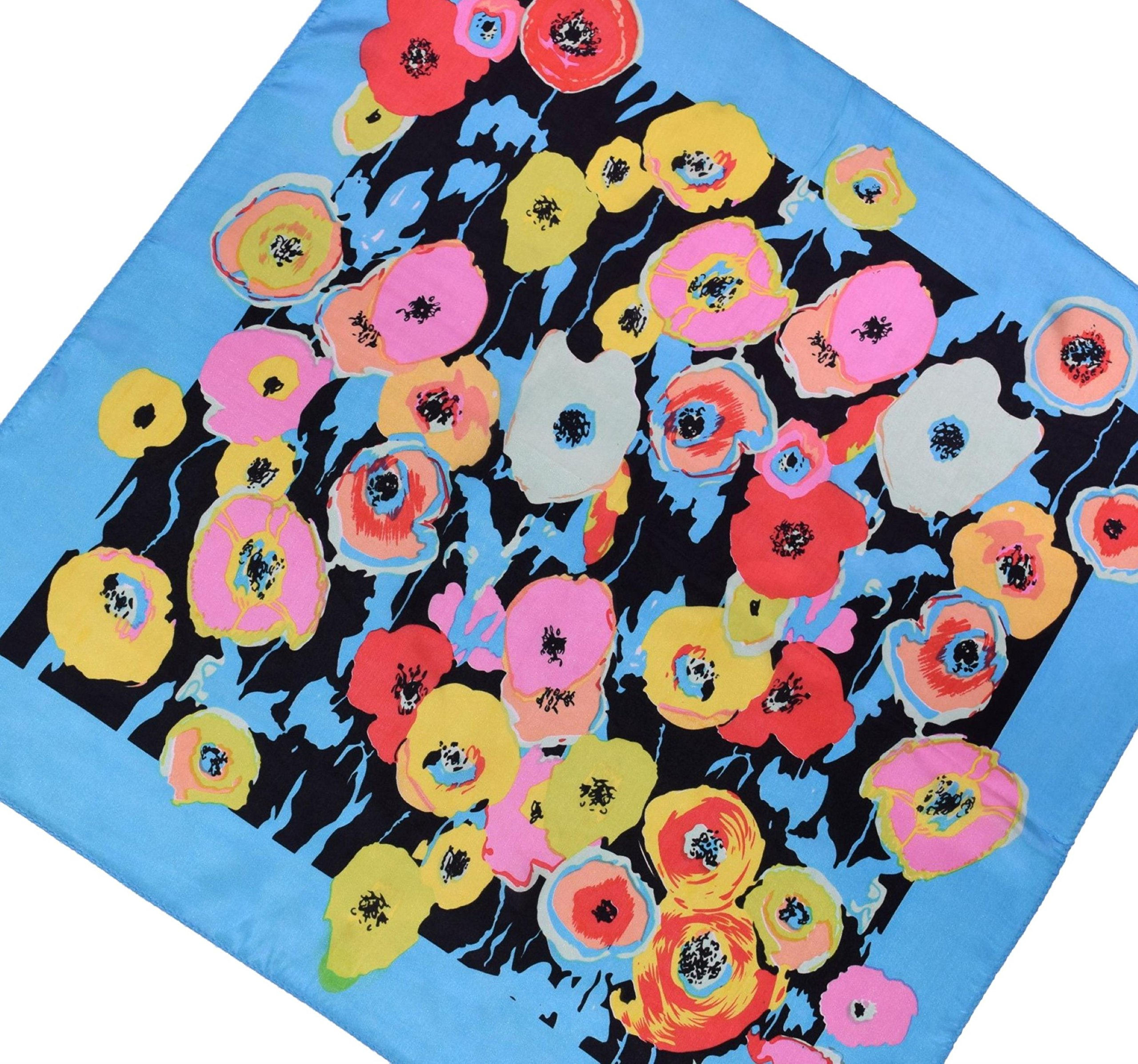 Blue Red Pink Flower Printed Fine Small Square Silk Scarf by Bees Knees Fashion (Image #3)