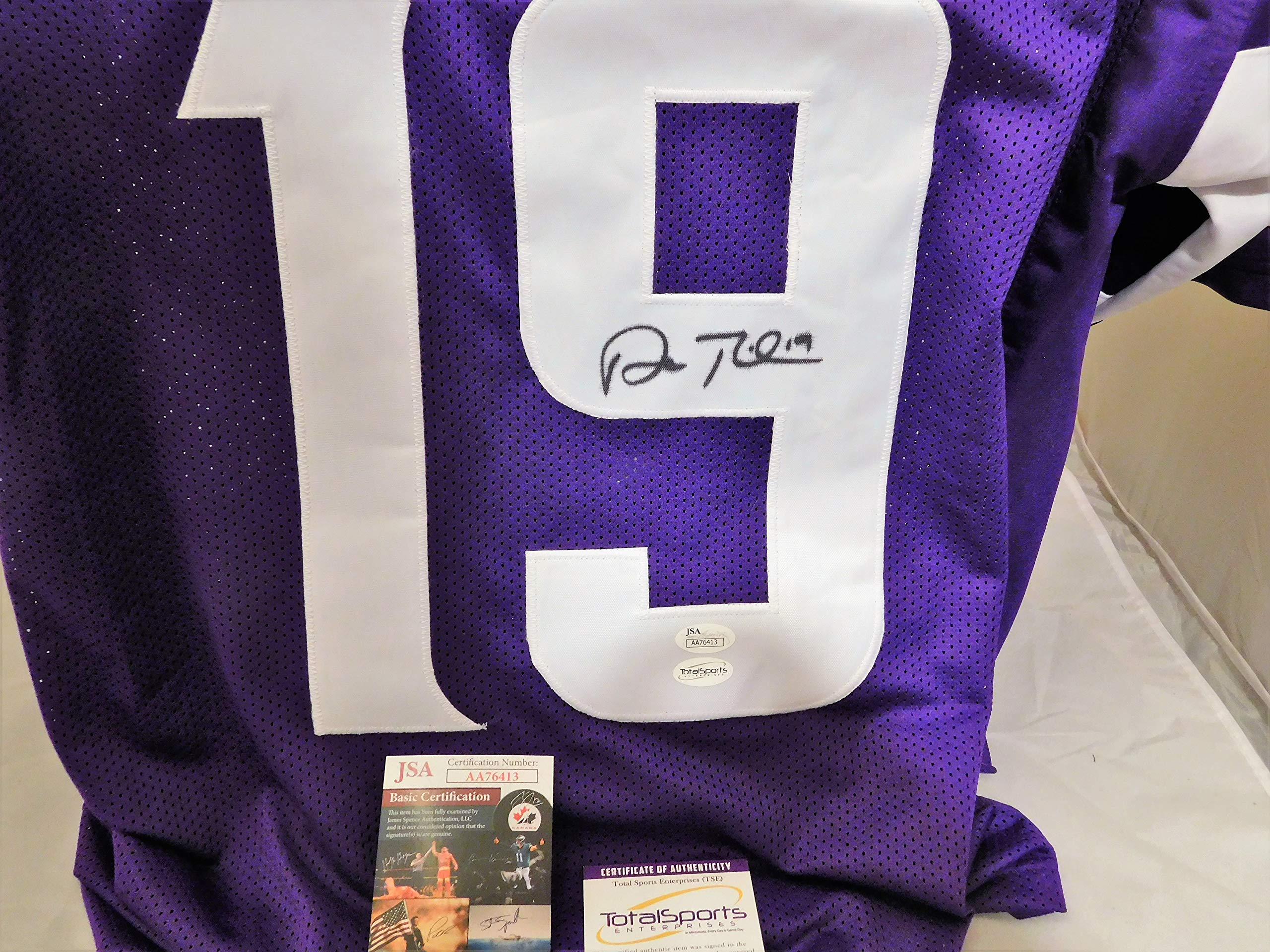 Adam Thielen Signed/Autographed Vikings Purple Authentic Style Jersey.JSA COA