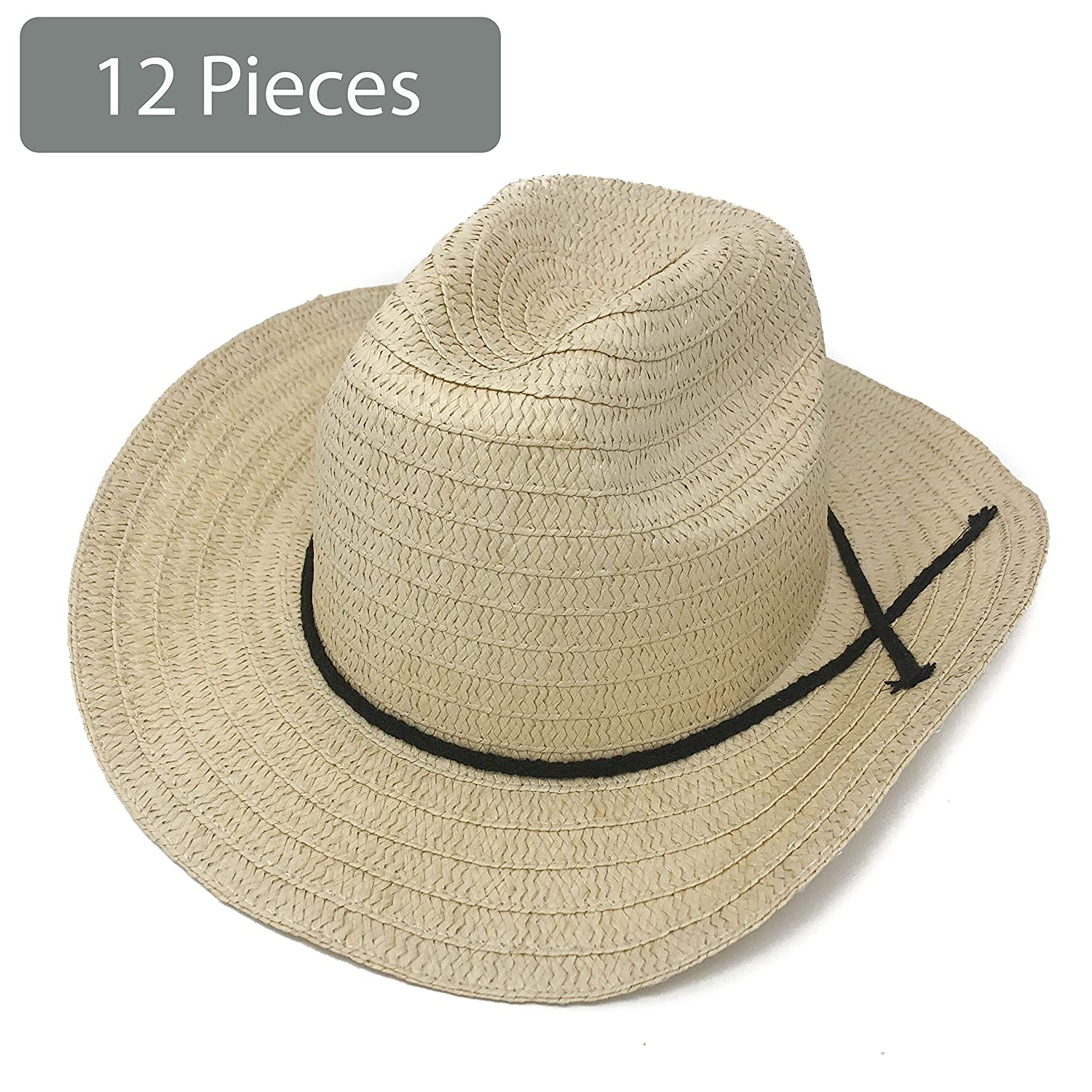 Adult Western Straw Hats with Band for Western Theme Party 12 Piece Cowboy Hats