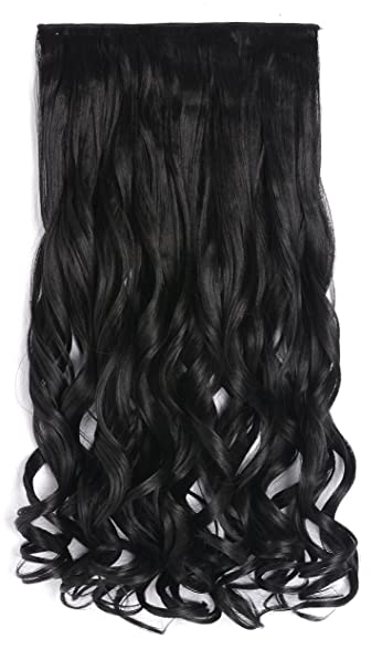 Amazon onedor 20 curly 34 full head synthetic hair onedor 20quot curly 34 full head synthetic hair extensions clip onin pmusecretfo Images