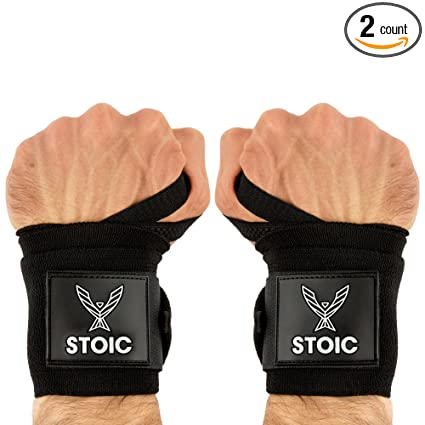 013d54c625 Stoic Wrist Wraps Weightlifting, Powerlifting, Cross Training, Bodybuilding  with Thumb Loop. Professional Grade for Gym Workout, Men and Women Weight  ...