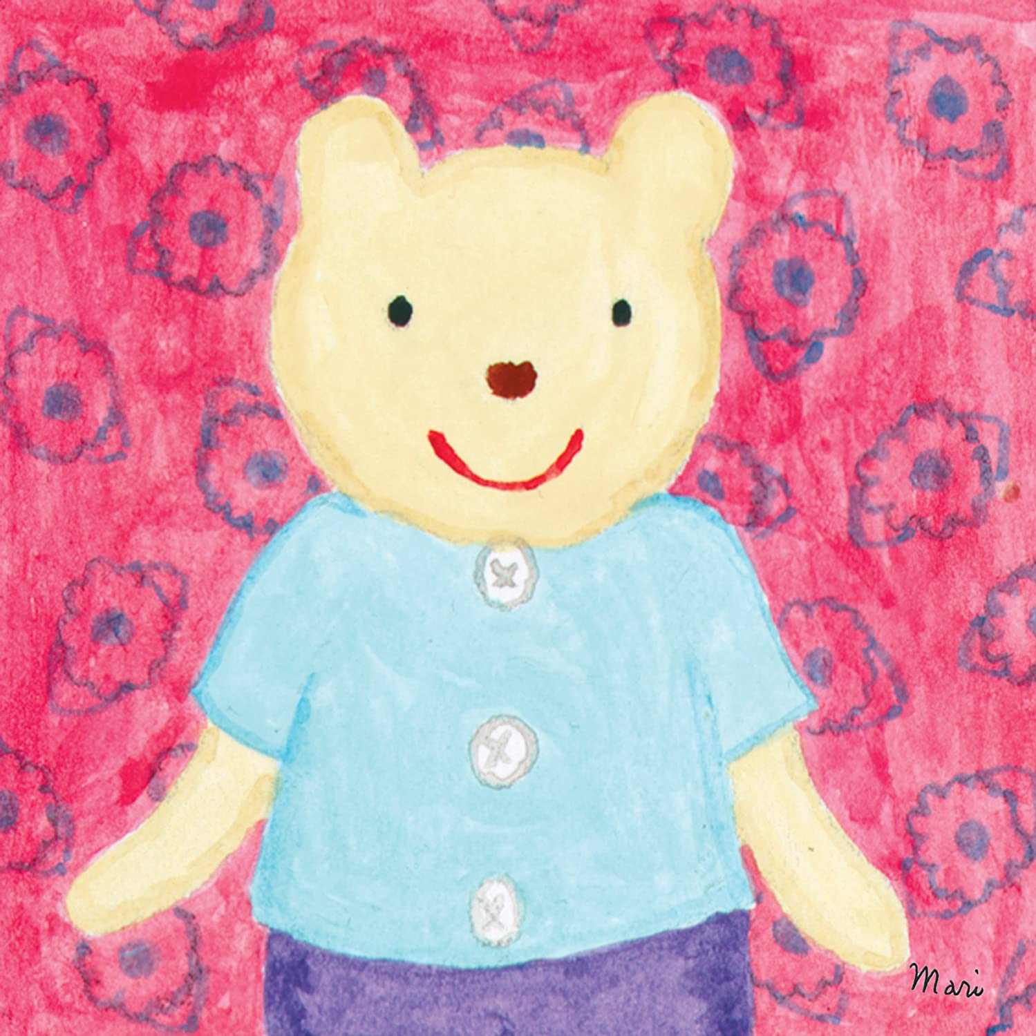 Amazon.com: Oopsy Daisy Button Bear Stretched Canvas Wall Art by ...