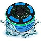 Portable IP67 Waterproof Wireless Bluetooth Speaker Shower FM Radio Built-In Speakerphone LED Lights (Blue)