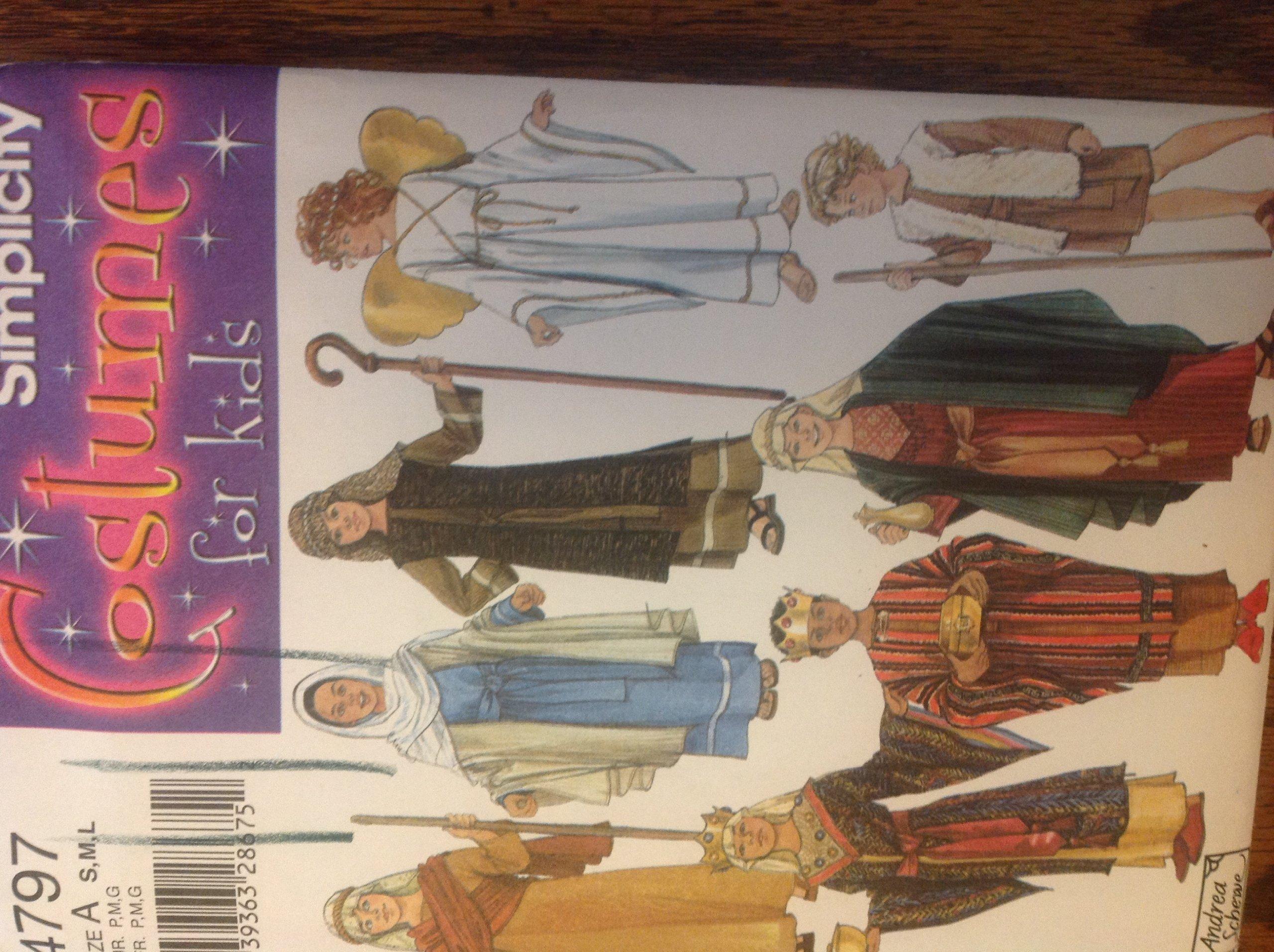 Simplicity 4797 Sewing Pattern for Boys Girls S M L Mary Joeseph Nativity Costumes Shepherd Angel Kings ebook
