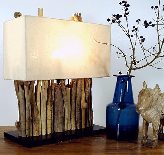 Guru-Shop Lámpara de Mesa/Lámpara de Mesa Okawango Marrón, Driftwood, 40x35x16 cm, Lámparas de Mesa de Materiales Naturales: Amazon.es: Iluminación