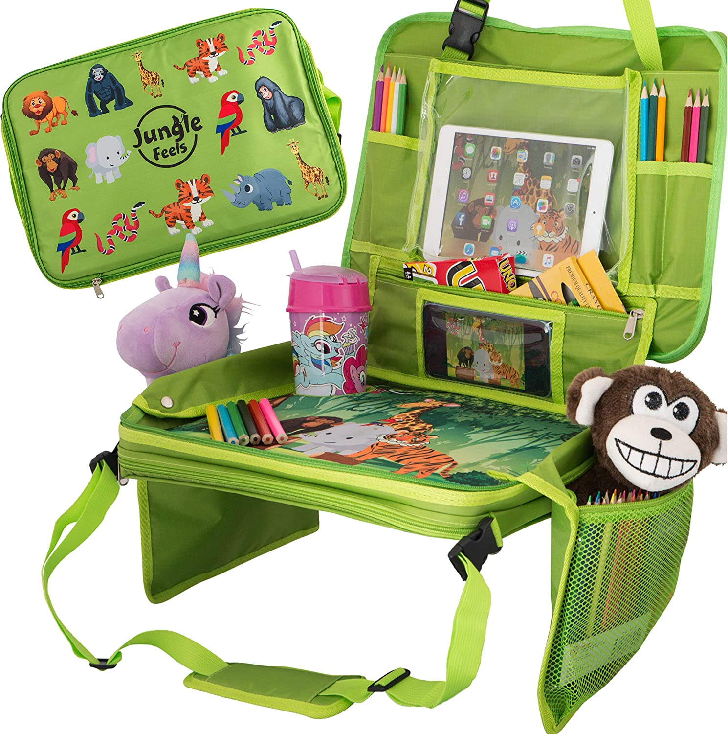 Car Seat Table for Toddler Travel & Kids Travel Tray &, Travel Accessories & Organizer for Kids, Car Travel Tray & Activity Tray for Kids, BONUS Coloring Book & 12 Crayons for Kids Car Activities