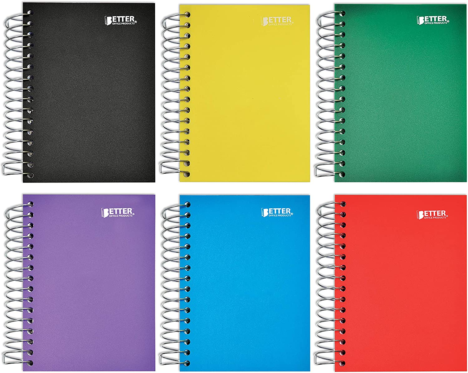 Fat Book Spiral Notebooks, 6 Pack, Small Notebooks with Poly Plastic Covers, 5.5 x 4 inches, 1-Subject, College Rule, 200 Sheets, by Better Office Products, 6 Assorted Primary Colors, 6 Count