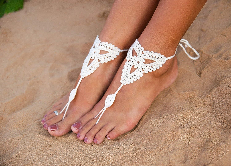 Set of 2 pcs. White Crochet Foot Jewelry Lace Wedding Barefoot Sandals Boho Beachwear Accessories Beach wedding party Bridesmaid/'s gift