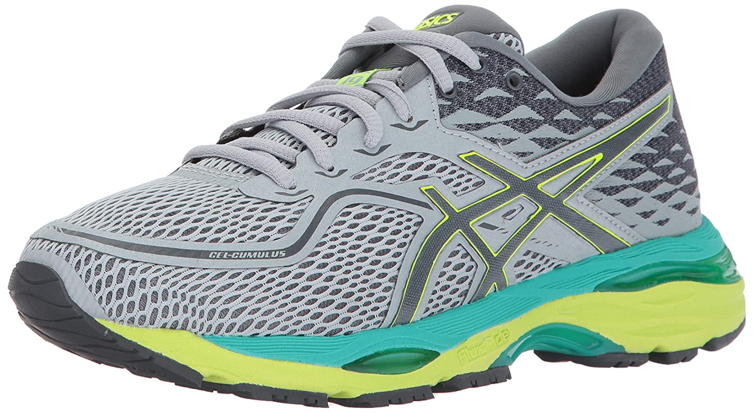 Mid Grey   Carbon   Safety Yellow ASICS Women's Gel-Cumulus 19 Running-shoes