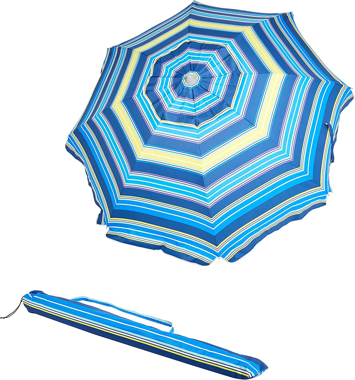 Amazon Basics Beach Umbrella - Blue/Yellow Striped